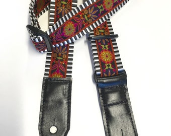 Guitar Strap Black and White webbing with Floral Jacquard Trim
