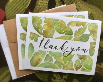 Tropical Watercolor Banana Leaves Note Cards