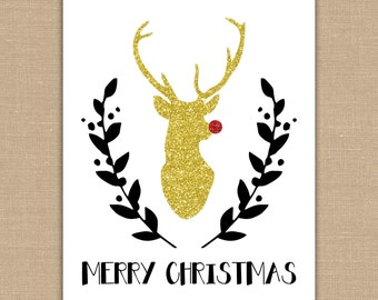 Glitter Christmas Sign.  Merry Christmas. Glitter Deer. Rudolph Red Nose Reindeer. Christmas Decor. Gold Red INSTANT DOWNLOAD Digital File.