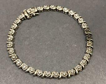 """7.25"""", Vintage Sterling silver tennis bracelet, solid 925 silver bracelet, stamped 925"""
