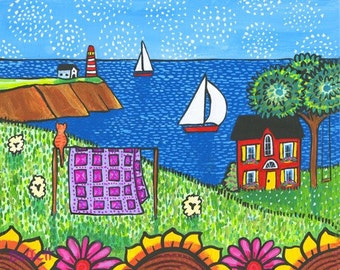 Quilt cat cottage ocean lighthouse Shelagh Duffett Print