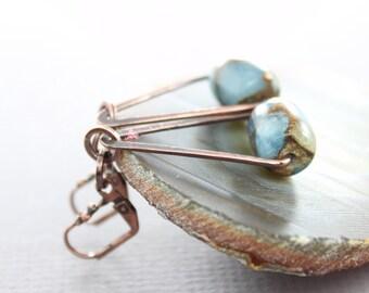 Swinging triangle copper earrings with mosaic aquamarine jade with tiger eye stone - Dangle earrings - Geometric earrings - ER019