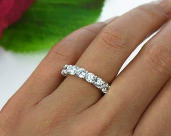 Half Eternity Band Round Diamond Wedding Band Diamond