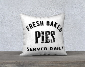 Fresh Baked Decorative Pillow, Pies Pillow Cover, Cookies Pillow Cover, Minimalist Art, Rustic, Farmhouse Decor
