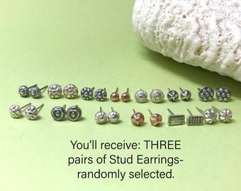 Trio of Sterling Silver Studs, Random Grab Bag Set of Three Small Earrings, Minimalist, Tiny Studs, Every Day Earrings