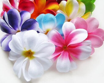 100 Assorted Mixed Plumeria Frangipani Heads - Artificial Silk Flower - 3 inches - Wholesale Lot - for Wedding , Make Hair clips, headbands