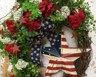 Patriotic Wreath for Front Door, Americana Wreath, 4th of July Wreath, Summer Wreath,  Red, White and Blue Wreath