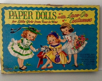 Vintage Paper Dolls With Lace-On Costumes