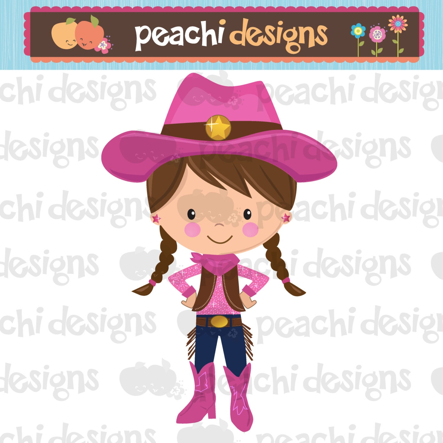 cute little cowgirl clipart printable rh etsy com cowgirl images clip art cowgirl clipart black and white