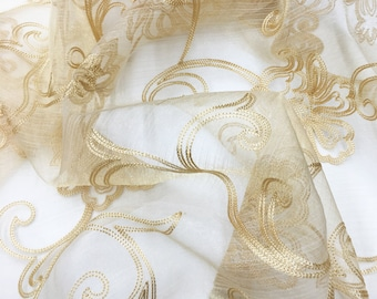 """110"""" Wide Width Amilia Embroidery Floral Sheer Voile Batiste / Gold, Beige / 2 Colors / Fabric by the Yard"""