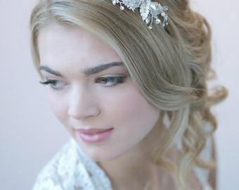 Floral Wedding Headband, Rhinestone Bridal Headband, Bridal Hair Accessory, Bridal Headpiece, Flower Bridal Headband,Bride Headband ~TI-3265