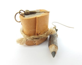 Original Hazel pendant earrings with hand-bound leather book and one with hand-made bronze metal color pencil Pendant