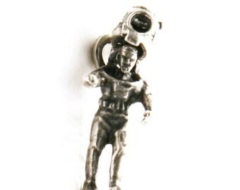 Mechanical Deep Sea Diver Bracelet Charm Vintage 1940's Sterling Silver