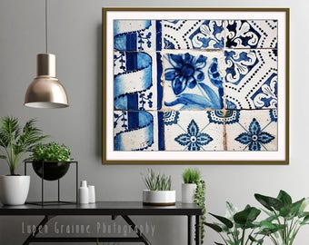 Blue and white wall art, Lisbon Portugal tiles print, azulejos, fine art photograph - Lisbon Tiles One