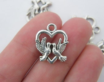 8 Dove and heart charms antique silver tone B92