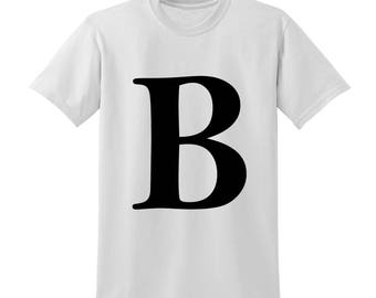 Personalised Alphabet Tshirt Favourite Letter Custom Name Black Initials B