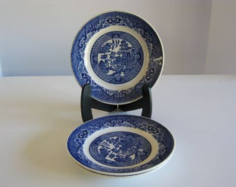 Vintage Blue Willow porcelain china bread plates-set of three, no markings