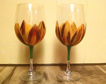 Set of Two Autumn Floral Wine Glasses
