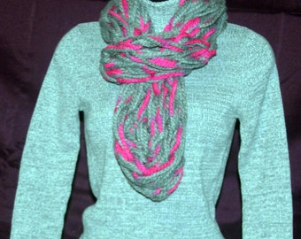 Pink and Gray Infinity Chunky Scarf