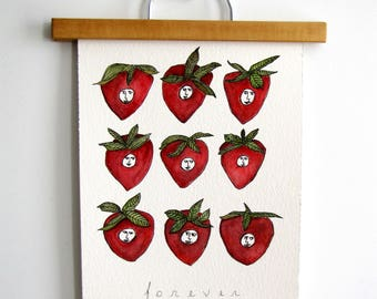 Strawberry Fields Forever Beatles Watercolor Painting Print