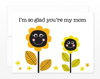 Sunflower Mother's Day Greeting Card - Thinking of You, Birthday Card, Thanks Mom Card, card for mom, step mom card, thanks mom card