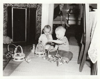 Original Vintage Photograph Snapshot Baby & Toddler With Easter Baskets and Toys 1950s