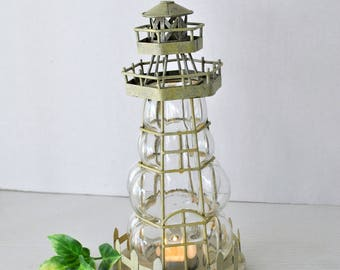 Nautical Lighthouse Candle Holder, Bubble Glass and Metal Sculpture Lighthouse Nautical Tealight Candle Holder Decor