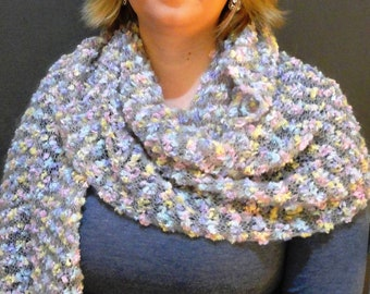 Handknitted multicolor wrap / shawl / scarf, ready to ship.
