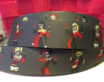 1 yard 1inch DC Comics Bad Girls Harley Quinn Superheoros Grosgrain Ribbon - Comic Bow Making Ribbon - Villians Grosgrain Ribbon - 22 mm