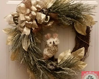 Owl Wreath Winter Wreath Grapevine Wreath