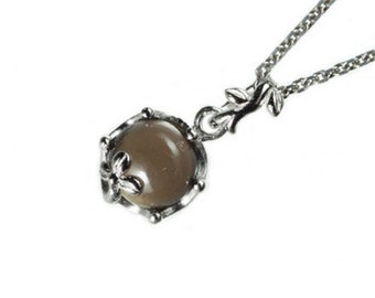 "smoky quartz, gemstone pendant, necklace, jewelry, silver, ""cute jewels"", japan, handmade, kawaii, cute, rose, tear drop, design, jewel, sterling, 925"