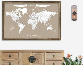 World Travel Map Canvas World Map Poster Push Pin Wedding Travel Gift Couples World Map Canvas with Cities Second Anniversary Gift for Women
