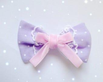 Kawaii Small Polkadot Bow with Bow and Lace detail, Fairy Kei, Sweet Lolita, Pastel Kei, Harajuku etc inspired