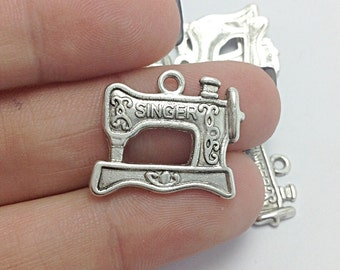 6 Sewing Machine Charms, Silver Sewing Charms, Craft Charms (1-1003)