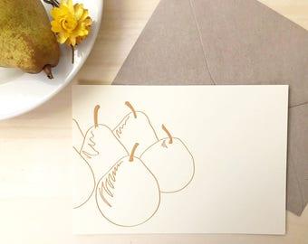 Pears card - eco friendly card - kraft envelope - greeting card - Letterpress notecard - gift for gardener - minimalist art - congratulation
