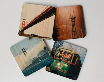San Francisco Landmarks Coasters - Set 2: Distressed Photo Transfers on Wood