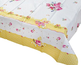 Pink Floral Table Cover | Rectangular Tablecloth Yellow Table Overlay Bridal Tea Party Bridal Shower Wedding Shower Bridal Brunch Garden TS