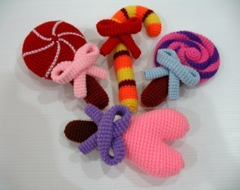 Crochet Pattern- LOLLIPOPS- toys/food  (00348)