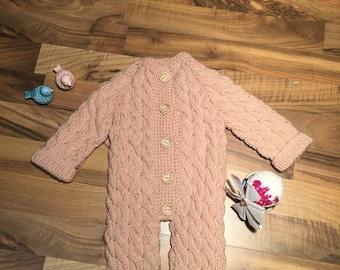 Knit Rose Pink Girl  Romper/Jumpsuit