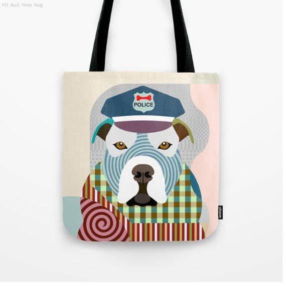 Pit Bull Tote, Pit Bull Bag, Pit Bull Gifts,  Pit Bull Art Print, Dog Tote Bag, Dog Lover's Gift, Animal Lover Gift, Pet Tote Bag