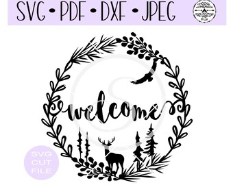 Welcome Woodsy Wreath SVG digital cut file for htv-vinyl-decal-diy-plotter-vinyl cutter-craft cutter- SVG - DXF & Jpeg formats.