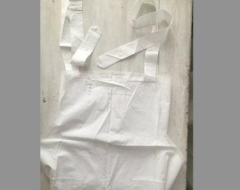Vintage Lace White Apron cotton / antique linens