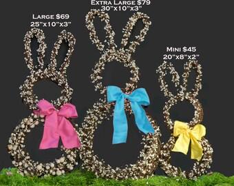 Bunny Wreath - Easter Wreath -Spring Wreath - Choose Bow Color - Large Bunny or Mini Bunny
