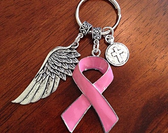 Keychain, Breast Cancer Awareness Keychain, Pink Ribbon Keychain, Breast Cancer Keychain, Pink Ribbon and Angel Wing Pendant