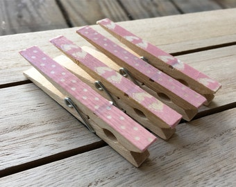 Baby Girl Magnets, Clothespin Magnets, Pink Refrigerator Magnets