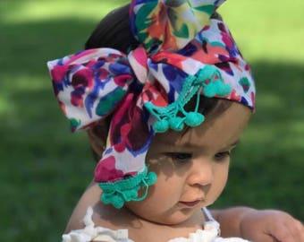 DESTINY; headwrap; summer headwrap; pink headwrap; gorgeous; hair bow; fabric headband; one size; toddler headband; baby headband; newborn