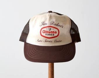 vintage trucker hat, Gillette Tires trucker cap