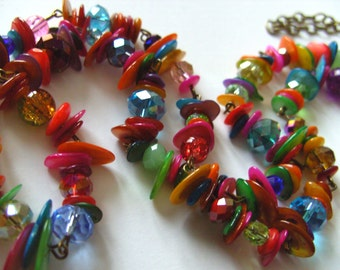 Long, mix colours, vibrant, shell and glass, bohemian, hippie, necklace, by NewellsJewels on etsy