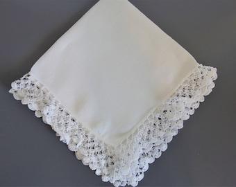 Vintage Wedding Bridal Hankie Hanky | Hair Pin Lace Handkerchief | Vintage Linen Hankie | Linen Lace Hankie | Gift for Bride