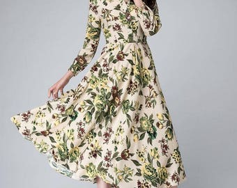 Garden party dress, flower dress, floral midi dress,floral print dress, shirt dress, sleeve dress, linen clothing, fit and flare dress 1490